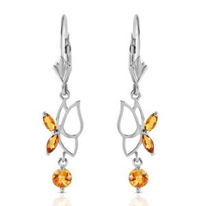 14K. SOLID GOLD BUTTERFLY EARRING WITH CITRINES